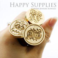 1pcs 30mm Custom Initial Gold Plated Wax by HappyJewelrySupplies