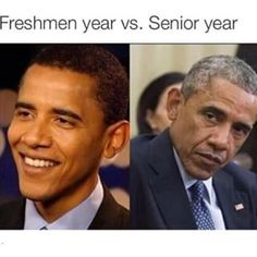 And finally, the difference between being a starry-eyed freshman and a Senior: Freshman Memes, College Memes, Student Memes, Freshman Year, College Life, Uni Life, Student Life, Freshmen Vs Seniors, Senior Jokes
