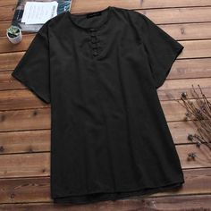 Mens Vintage Chinese Style Loose Casual T-Shirts Tee Tops Loose Shirts, Men Shirts, Casual Shirts For Men, Shirt Men, Men Casual, Casual Street Style, Street Style Looks, All Blacks Shirt, Chinese Style