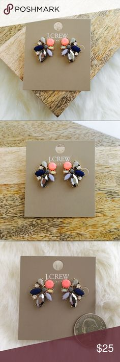 """J. Crew Gemstone Cluster Earrings Gemstone Cluster Earrings - GORGEOUS! Coral, mirrored gunmetal, blue, lavender, dark & light grey, golden iridescent, and crystal colored stones. YOU NEED THESE!  * Zinc casting, glass stone. * Light gold ox plating. * 1""""L x 3/4""""W. J. Crew Jewelry Earrings"""
