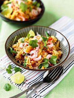 Stekt ris med egg og reker