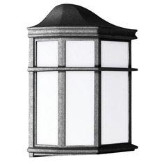1 Light Black Outdoor Lantern With White Acrylic Lens