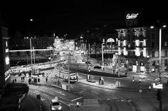 Zurich by Night, Central Black And White Photography, Times Square, Vogue, Symbols, Night, Travel, Monochrome, Black White Photography, Viajes