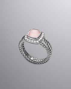 496807437faa David Yurman Petite Albion Ring with Rose Quartz and Diamonds
