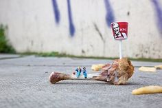 miniature sculpture: Bones, by Slinkachu