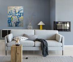 Maleri på vegg interiør Sofa, Couch, Love Seat, Furniture, Home Decor, Kunst, Settee, Settee, Decoration Home