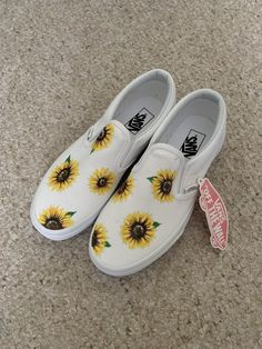Custom hand painted Sunflower Vans on a white canvas e16b75a04