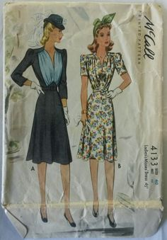 McCall 4133 Ladies and Misses Dress. 1941. 1940s