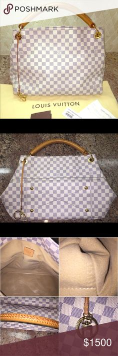Louis Vuitton Artsy MM Damier Azur Authentic Louis Vuitton Artsy MM in Damier Azur. In very good near new condition. Bag was used probably 5 times and stored in dust bag. Vachetta is patina into beautiful honey color. No stains, scuffs, cracks or any type of damage. Also come with a clear Artsy base shaper (paid $30 for.) Still have tag and original purchase receipt. *** Sorry NO TRADE *** All of my luxury items are treated with Apple leather products. Louis Vuitton Bags Hobos