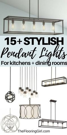 15+ Stylish pendant lights for kitchens and dining rooms.  #pendant #light #lighting #kitchen #diningroom #pendantlight