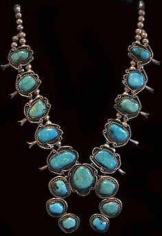 Unusual Vintage Navajo Turquoise Squash Blossom Necklace