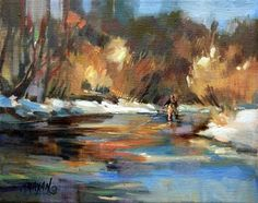 """Fishing Gold -  fly fishing in a golden light"" - Original Fine Art for Sale - © Mary Maxam"