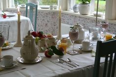 Breakfast served at Strandhagen BB, Porvoo/ Borgå, Finland. B & B, Bed And Breakfast, Finland, Table Settings, Place Settings, Tablescapes