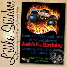 Printable HOT WHEELS Birthday Party Invitations Nate Pinterest