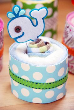 Whale Cup Cake Diaper Cake Boy by CakesofJoy on Etsy