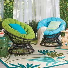 Swivel chairs and cushions offer you a comfy way to lounge.
