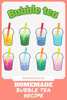 Did you know you can make your own yummy bubble tea from this easy DIY recipe at home? Here's how to make homemade boba tea just like the tea shops. You can even add different flavors if you want! Homemade Bubble Recipe, Homemade Bubbles, Diy Recipe, How To Make Boba, How To Make Homemade, Bubble Tea Straws, Milk Tea Recipes, Pearl Tea, Jasmine Green Tea