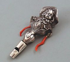 Sterling silver and coral baby's whistle/rattle ... c. 1880