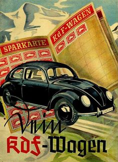 "The cover of a 1939 brochure for the KdF-Wagen, a readily-recognizable ancestor of the Volkswagen ""Beetle"". KdF stood for Kraft durch Freude, or Strength through Joy, the organization that promoted a savings plan to buy the cars."