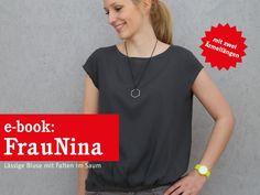 Fashion Tutorials – FrauNINA Bluse mit Saumfalten, ebook – a unique product by schnittreif on DaWanda Sewing Shirts, Minimal Fashion, V Neck, T Shirts For Women, Female, Blouse, Model, Tops, Studio