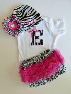 Personalized Zebra Pink Monogram Onesie With Ruffle by mamabijou, $36.00