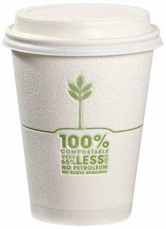 Tazas de café 100% compostables.