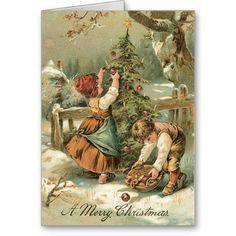 Vintage Kerstkaart - zeer zoete kaart