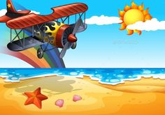 Plane and Beach by BlueRingMedia Illustration of an airplane over the beach