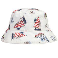 bca3acef7a2 Baby White  Nautical  Cotton Sun Hat. Childrensalon