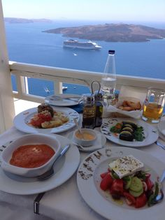 Lunch on Santorini while cruising with MSC Fantasia. Heaven!
