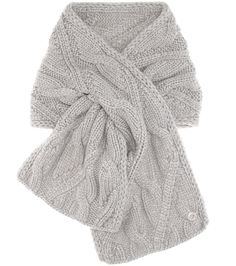 Chevril grey baby cashmere knitted scarf