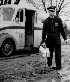 Twin Pines Milkman delivering the milk to a home in Detroit