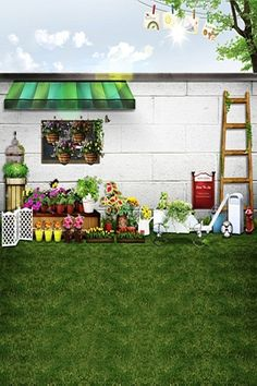 22.70$  Watch here - http://ali8w3.shopchina.info/1/go.php?t=1504034921 - 200Cm*150Cm Backgrounds Peripheral Wall Flowers Ladder Photography Backdrops Photo Lk 1564  #magazineonlinebeautiful