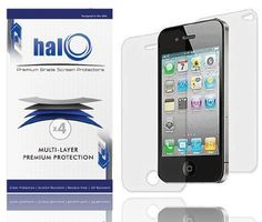 Halo Screen Protector Film Clear (Invisible) for iPhone 4G 4S 4 (3 Pack + 3 Bonus Back Films) $5.95