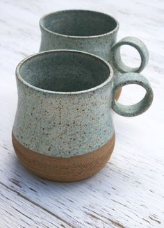 Speckled stoneware 12 oz coffee/tea mugs by Marie Wingate. Available from earthformsbymarie.com