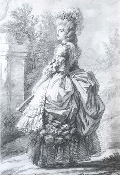La Regina Maria Antonietta nel parco di Versailles (1780 schizzo di Élisabeth-Louise Vigée-Lebrun).
