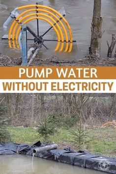 A way of using hydro powered water pump that requires no external energy using only the current of the water to power your water pump. Homestead Survival, Survival Skills, Diy Water Pump, Solar Water Pump, Pool Heater, Energy Use, Solar Energy, Aquaponics, Outdoor Projects
