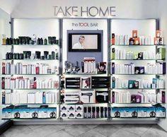 image of Angus M Salon, Beverly Hills Nice clean looks Beauty Salon Design, Beauty Bar, Beauty Shop, Retail Wall Displays, Small Salon, Retail Shelving, Lash Room, Spa Rooms, Spa Design