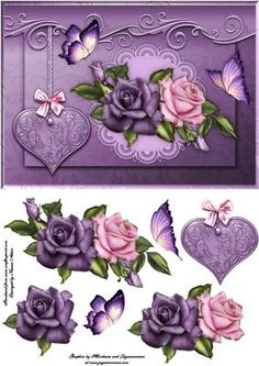 Love Hearts Roses Card Front with Step by Step on Craftsuprint designed by Karen Adair - This is an A5 sized card front, in lovely shades of lilac, and features stunning Roses, butterflies and a hanging heart tag. Decoupage is included. Add your own peel-off sentiment to make this card suitable for Valentine's Day, Anniversaries, or another occasion. If you like this check out my other designs, just click on my name. - Now available for download!