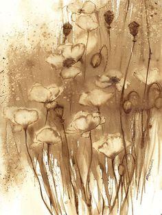 Maczki - watercolour painted with coffee - maria roszkowska. Watercolour Painting, Art Painting, Pixel Art, Tea Art, Coffee Painting, Drawings, Painting, Abstract Artwork, Watercolor Art Paintings