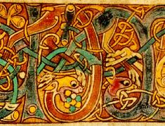 Interlacing lions and vines from the Book of Kells, illuminated manuscript. Just beautiful work done in dank, dark rooms. I remember when the Book of Kells came to NY in the 70's(?) the more I looked the more I saw. Revelatory.