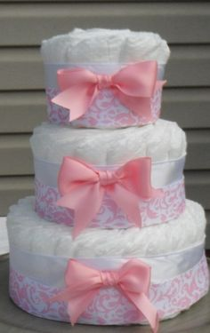 15. Pink #Damask - 29 Diaper Cakes Any #Mother Will Adore to #Receive ... → #Parenting [ more at http://parenting.allwomenstalk.com ]  #Baby #Roses #Ing #Diaper #Bottle