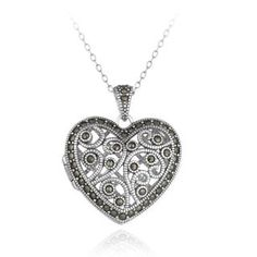 Glitzy Rocks Sterling Silver Marcasite Heart Floral Locket ...
