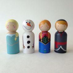 Frozen peg dolls 4pc set including Elsa Anna Kristoff by PegHeads, $24.00