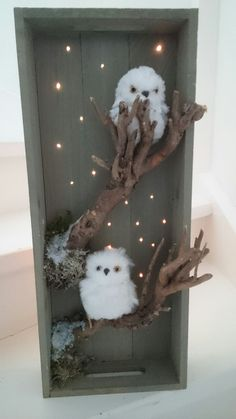 eule - fall decor ideas - New Ideas Owl Crafts, Decor Crafts, Diy And Crafts, Crafts For Kids, Christmas Scenes, Christmas Time, Xmas, Christmas Village Display, Christmas Decorations