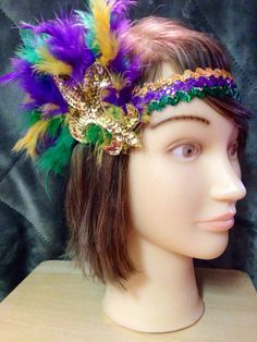 Mardi Gras Fleur De Lis Headband by NolaTrends on Etsy