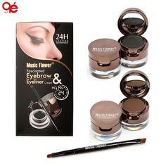 Pro 4 in 1 Eye Makeup Set Gel Eyeliner Brown + Black Eyebrow Powder Make Up Waterproof And Smudge-proof Eye Liner Kit
