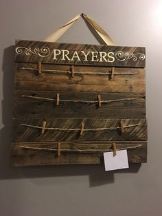 Hanging prayer board comes with 10 clothes pin clips for you, your family, or church group to add prayer requests. A verse of your Prayer Wall, Prayer Room, Prayer Board, Prayer Signs, Prayer Prayer, Bühnen Design, Wood Projects, Projects To Try, Christian Crafts