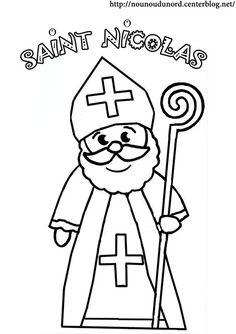 Coloriage Saint Nicolas dessiné par nounoudunord