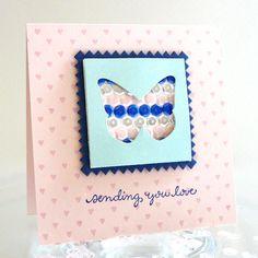 Sequin Butterfly card #sequins #denamidesign www.prettypinkposh.com